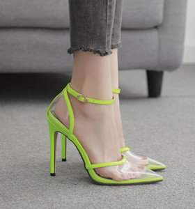 with box fluor green pink printed pointed stiletto heels pumps fashion luxury designer women shoes size 35 to 41