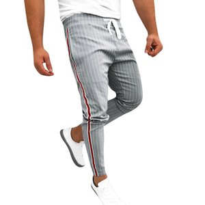 2019 Mens Joggers Patchwork de rayas Casual con cordón Pantalones de chándal Pantalón Pantalones largos de poliéster Mezcla más tamaño L415A