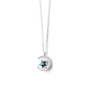 Plata de ley 925 Puro S925 Collar de Plata Femenino de Moda de Corea Estrella Azul Luna Pendnat Lady Clavícula Cadena de Joyería Para Las Mujeres