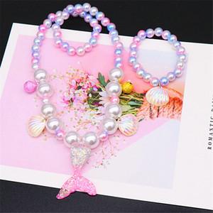Kinder Mermaid Halskette Set Armband-Perlen-Shell-Anhänger Ohrclip Ring Mermaid Cosplay für Mädchen-Kind-Geschenk Schmuck HHA 1074