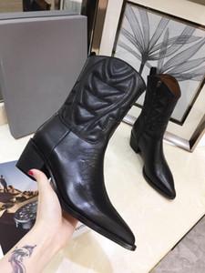 Lüks bayanlar ayak bileği çizmeler 2019 erken sonbahar tasarımcı bayanlar ayakkabı sivri hakiki deri bayan botları 3D elektrikli nakış kadın çizmeler