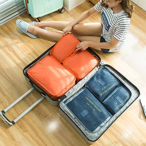 도매 야외 6PCS 세트 여행 의류 보관 가방 대용량 멀티 색상 메쉬 디자인 간단히 홈 의류 보관 가방 세트 DH0699 T03