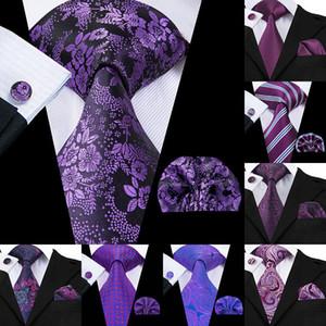 2020 seda púrpura floral de Paisley lazos para diseñador de los hombres Set Corbatas y pañuelos de moda negocio de la boda Mens Ties