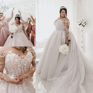 2020 des robes de mariage Sheer Jewel cou balayage train dentelle Applique Boho Robes de mariée Custom Made Bohème Long Beach robe de mariée