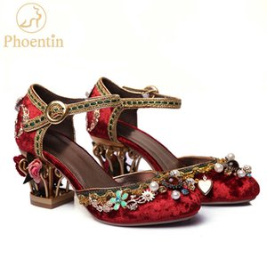 Phoentin velvet ankle strap Chinese wedding shoes women crystal buckle pearl rhinestone flower decoration mary jane shoe FT267 Y200702