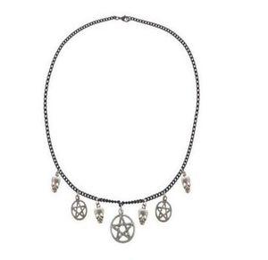Regalo di Halloween dei monili delle donne della collana del collare 15pcs Witchcraft Big Pentagram della collana del cranio dell'annata del pendente Silver Charm Gothic Girocollo