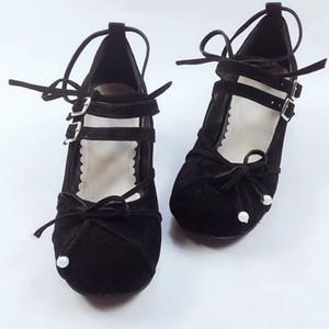 4.5cm Yüksek Topuklar Pleuche Siyah Bow Çapraz sapanlar Lolita Topuk Ayakkabı Prenses Kız Sweet Lolita Cosplay Parti Ayakkabı pompaları