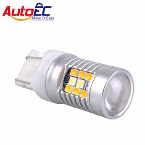 Высокая мощность 28-SMD 1157 7443 Двухцветное переключение светодиодных лампочек для сигнала сигнала передней поворота
