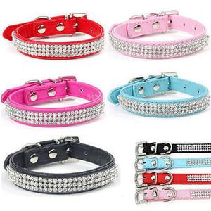 Bling bling strass PU collier en cuir cristal de diamant brillant Dazzling Chiot Collier pour chien Colliers de chien rose