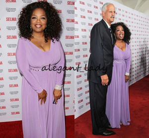 Oprah Winfrey Plus Size Mother Of the Bride's Dresses with Long Sleeve 2019 Lavender Chiffon Beaded Belt Mother of The Groom Party Gown