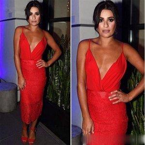 Lace Tea Length Short Prom Dresses 2021 Spaghetti V Neck Sexy Red Cocktail Party Gowns Cheap Vestidos De Novia