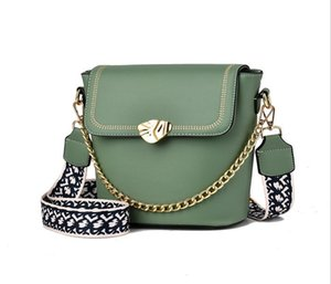 Fashion new woman s bag high quality design simple and versatile wide shoulder strap slung casual portable chain shoulder bag