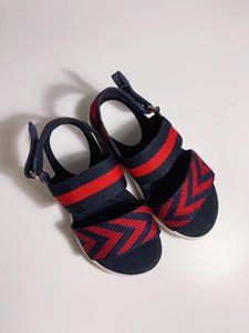 Fashion Striped Kids Designer Sandals Big Boys Girls Slippers Red Green Blue Toddler Baby Luxury Shoes With Box Size 26-35