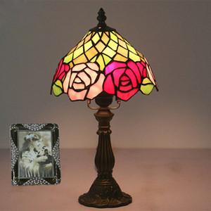 8 Polegada Tiffany Candeeiro de mesa Quarto Quente Estudo Pequeno Desk Lamp Bar Decoração Do Hotel Vitral Night Light Lamp Kids Room