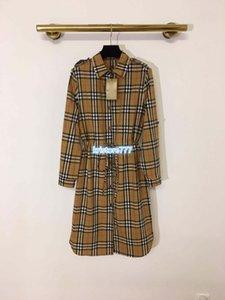 meninas de high-end das mulheres camisa curto de verificação vestido vintage xadrez cordão lapela pescoço manga longa saia de pista design casual novos vestidos longos