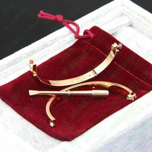 2018 L'amore vite marchio Bangles 316L titanio acciaio C con dieci CZ braccialetti cacciavite pietra per le donne degli uomini puleiras con il sacchetto di polvere