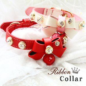 Dog collar leash pet accessories cat collar Real lychee pattern cowhide soft leather cattlehide calfskin cowskin bow tie diamond
