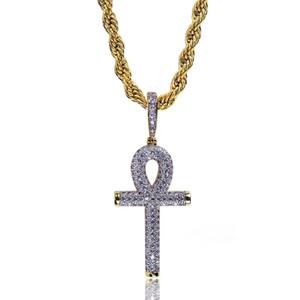 De luxe de bijoux pour hommes Collier Hip Hop Bijoux Ankh clés Collier éthiopienne Croix Choker pendentif femme