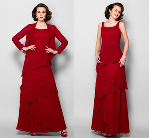 Borgonha Spaghetti Chiffon mãe do vestido da noiva com Jacket real Pictures Red Plus Size Mãe Vestido formal Prom Evening Wear 2592908