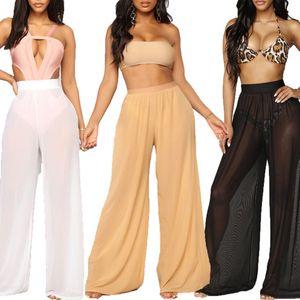 Nuevo mujeres atractivas Beach Mesh Pantalones Pantalones Sheer pierna ancha de Sólido Ver transparente a través del mar de vacaciones bikini pantalones 3 color S-XXL