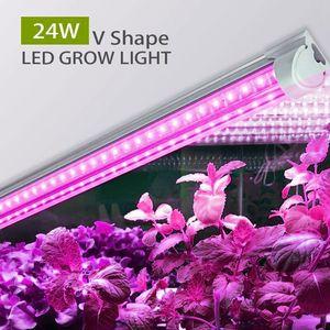 LED Işıklar T8 V Şeklinde Entegrasyon Tüp Tam Spektrum Bitki Tıbbi Bitkiler ve Bloom Meyve Pembe Renk Işık Grow
