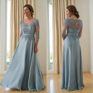 Jasmine 2019 V Neck Mother Of The Bride Dresses 3 4 Sleeve A Line Beads Wedding Guest Dress Plus Size Lace Evening Gowns