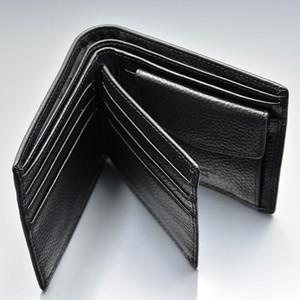 Luxury Classic Black Top raccoglitore del cuoio genuino Progettato per Holder Uomo carta MB Marca Coin Pocket Photo Holder Breve portafogli con scatola regalo