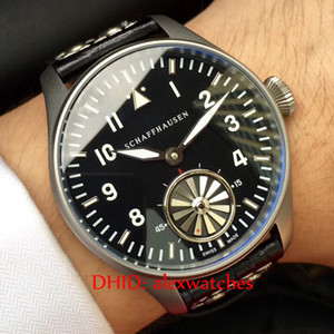 Luxury Mens Watches Sport Classic Wristwatches Silver 316L Steel Case Black Dial Cowhide Leather Strap Hand-Winding Mov Men's Watches F369
