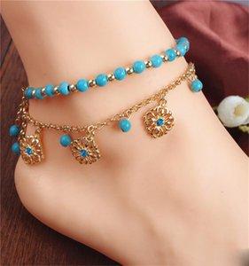 2pcs / set Einzigartige Grün Turqoise Howlith Perle Blumen-Anhänger Goldfarbe Kette Fußkette Souvenir Knöchel-Armband Fuss-Schmucksachen