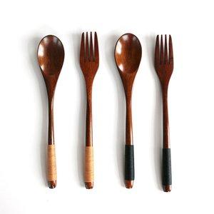 2Pcs / Set Деревянные ложки из бамбука Кухонный инвентарь Кухонный Utensil Западная Посуда Десерт Фрукты сервировки Дети