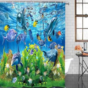 현대 커튼 바다 물고기 수생 식물 인쇄 욕실 샤워 커튼 욕실 장식 방수 직물 샤워