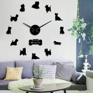 Raça West Highland Terrier Westie Longo relógio mão 3D DIY relógio de parede Filhote de animal autoadesivo Big Acrílico Tempo relógio relógio T200104