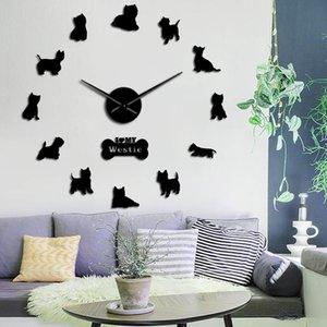 Westie Highland animal T200104 Acrílico Terrier longo do filhote de cachorro Clock 3D DIY Wall Clock mão Auto Raça Big Dog Tempo Adhesive Assista Wes Fkngo