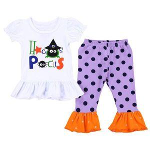 Bebés Meninas terno de calças meninas Halloween Carta dos desenhos animados lanterna luva Ruffle Tops T-shirt Calças Crianças Lazer ClothingDot Speaker Set