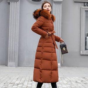 LanLoJer Euro estilo largo invierno chaquetas mujeres de espesamiento del abrigo de pieles collar delgada caliente encapuchada Outwear Parkas con los marcos Pus Tamaño
