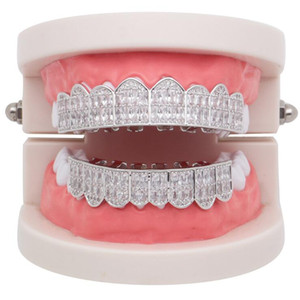 Venda Quente Hip Hop Diamantes Dentes Grillz Prata Gold Hiphop Dentes Grillz Rhrinestone Top Bottom Grills Bling Bling Bling Jóias Presentes 2019