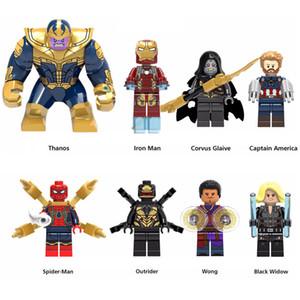 Süper Kahraman Oyuncak Avengers Infinity Savaşı Thanos Iron Man Black Widow Spider Man Kaptan Amerika Mini Eylem Şekil Yapı Taşları