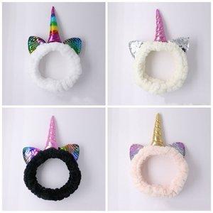 Прекрасный Unicorn Плюшевые Hairband ватки Блестки Дети Девушки ободки Упругие диапазона волос для Хэллоуина Принадлежности для Рождества 4ВС E1
