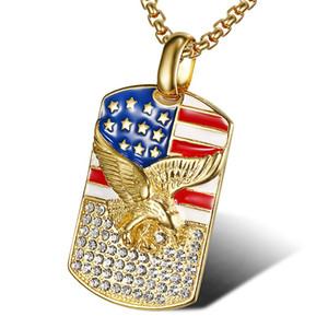 Hip hop etiqueta collar colgante, collar de nuevo Bling de la bandera americana de Eagle Hombres de acero EE.UU. Patriot Libertad Estrellas perro de las barras de acero