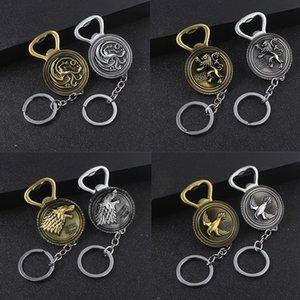 Beer Bottle Openers Game of Thrones Keychains House Stark Wolf Multifunction Bottle Opener Tool Metal Keychain Men Movie Jewelry GT91
