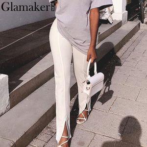 Glamaker alta cintura sólidos pantalones casuales mujeres bodycon los pantalones femeninos de división señora de la oficina pantalones de la manera bottoms patalon elegantes Y200418