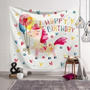 Psychedelic goblen karikatür unicorn çocuklar çocuk odası doğum günü dekorasyon moda duvar asılı bez çiftlik yurdu dekor