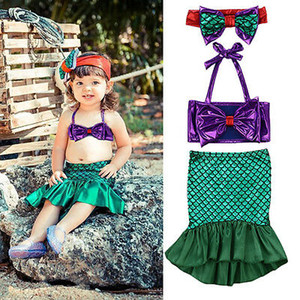 Nuovo 2019 Princess bambini Baby Girl paillettes Tops + Gonne Mermaid Tail Dress 3pcs Outfit Set Costume Sweet Princess Cute Swimsuits
