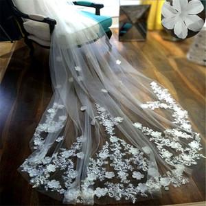 Новый один слой 3D-цветочные аппликации тюль длинные свадебные вуали 3 метра цветы на поезде Принцесса вырезать край свадебный Вейл свадебные аксессуары вело