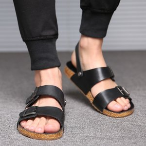 @@@Clearance Sale@@@ Black White British TPR Hasp Sandals fashion loafer seabeach men's cool genuine leather sandals summer casual mule