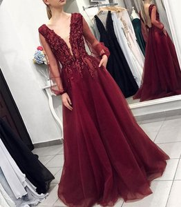Glitter Pearls Formal Evening Dress Burgundy A line Prom Gowns Red Carpet Celebrity Dresses South African V neck Long Sleeves Cheap 76