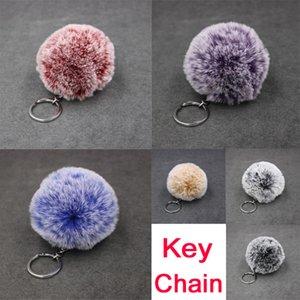 Freier DHL 6 Arten doppelte Farben-Steigungs-Pelz-Kugel Keychain Imitat-Kaninchen-Pelz Keychains Beutel-Auto-Anhänger 8cm Schneeflocke Hairball Keyring B554Q F