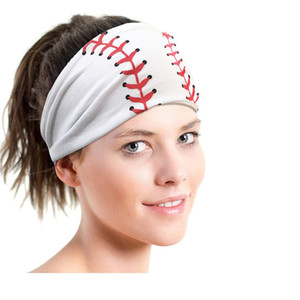 волосы группа Софтбол Спорт банданы бейсбол футбол печатных Галстуки девушка женщина тренажерного зал йоги впитывает пот мяч лента для волос косынка E3405