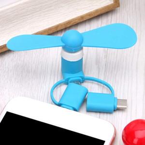Mode 3 2 in 1 beweglichem Mini Micro-USB-Ventilator von Smartphone-Handy-Handy-Ventilator für Typ C Android Multifunktionshandventilator
