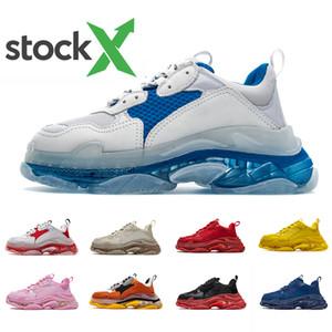 Balenciaga  17FW Triple S agrega un burbuja transparente media suela de las zapatillas de deporte para hombre de las mujeres de lujo el aumento de la marca del papá de los zapatos